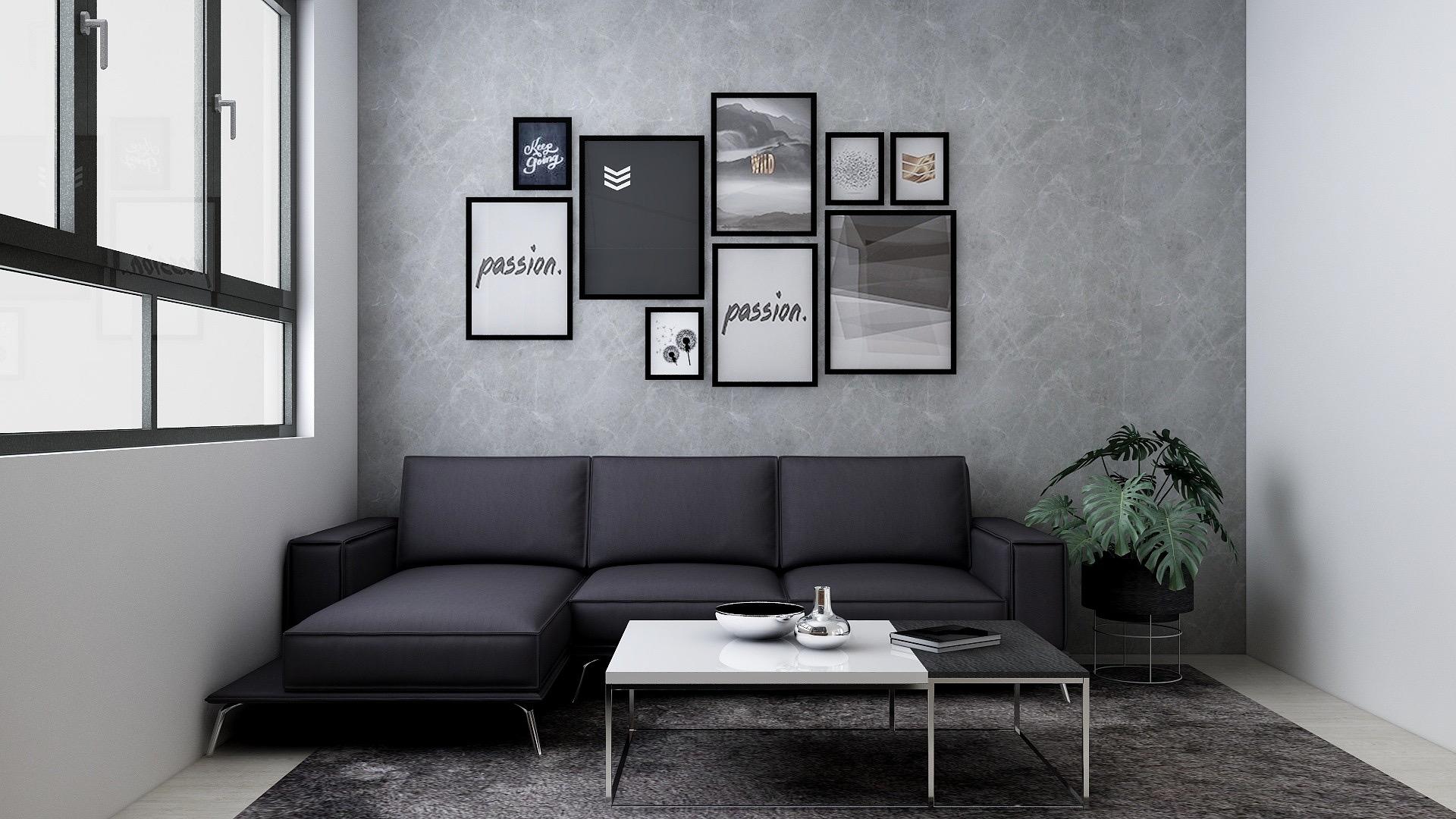 Monochromatic gray color scheme in a Contemporary living room