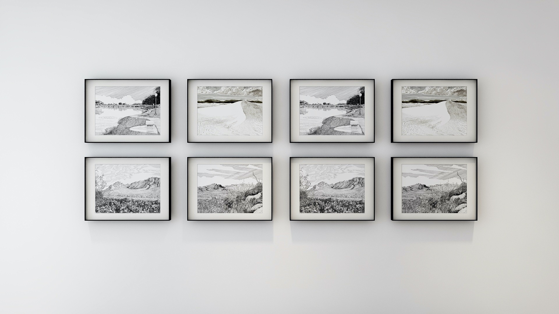 Framed minimalist art acts as accent in Contemporary style