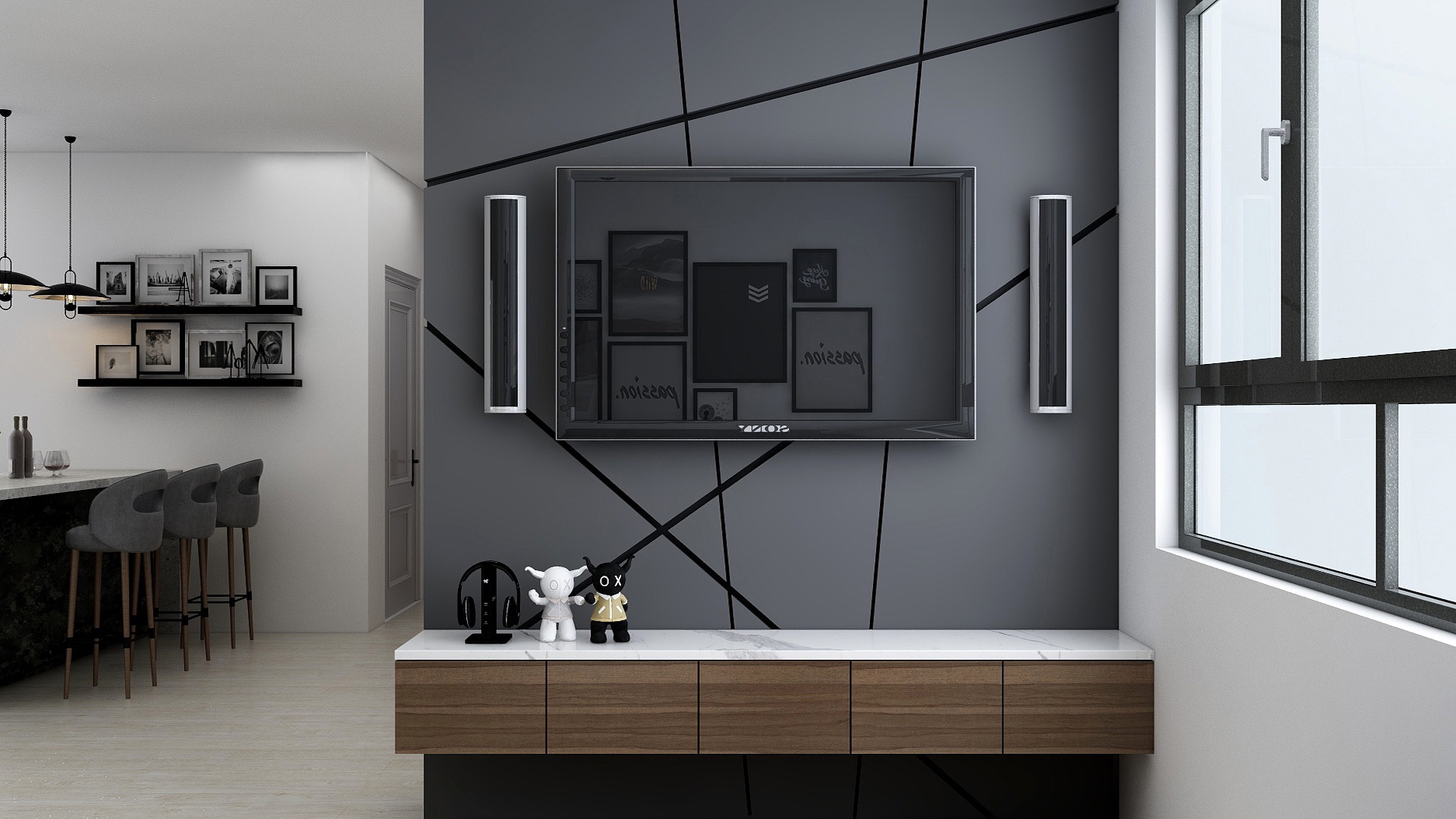 Contemporary feature wall designed with geometric outline