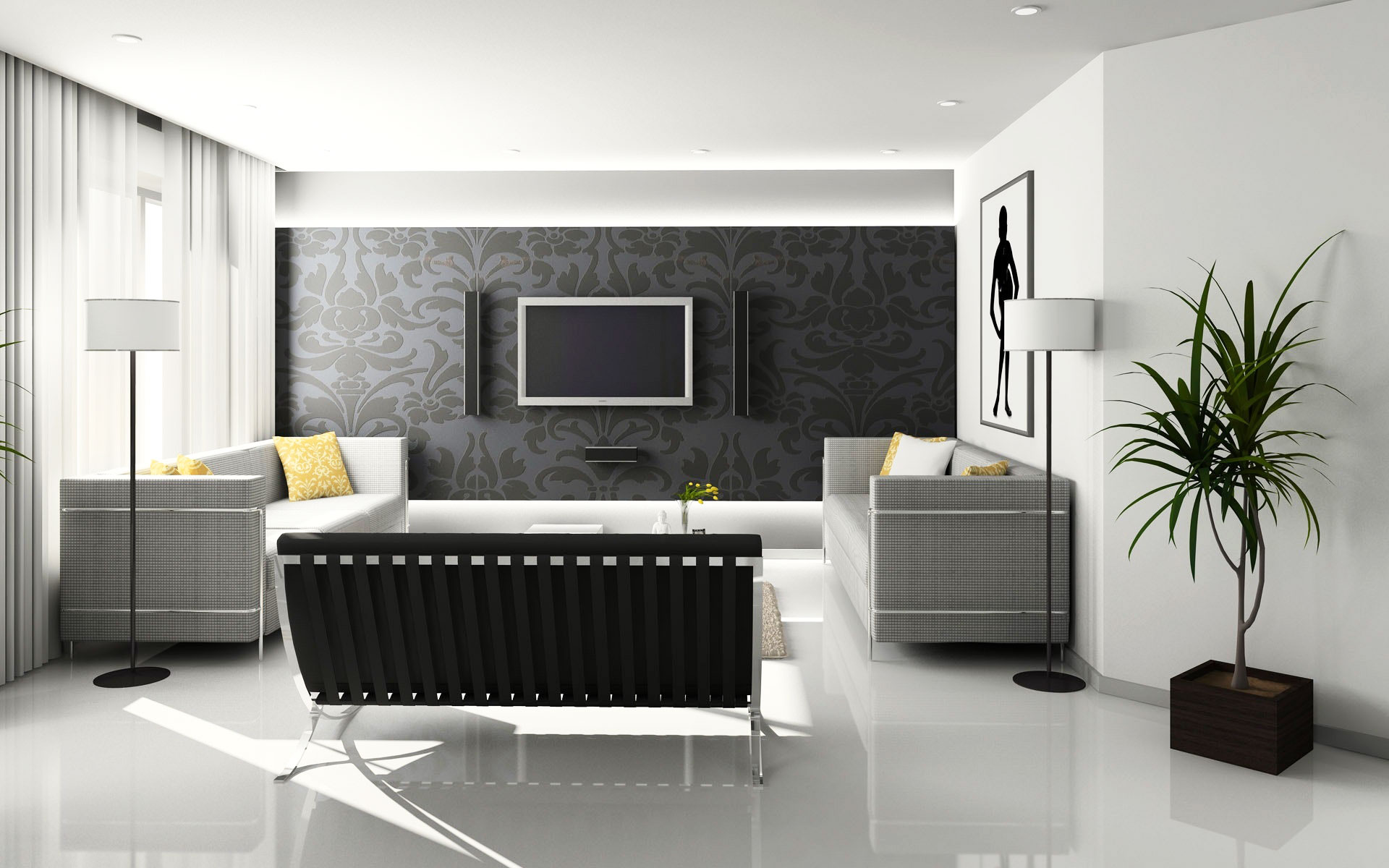 Modern furniture blends with ornamental textile in a Contemporary living room