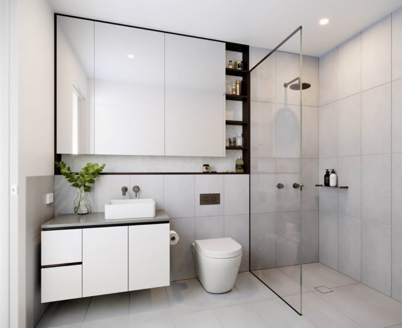 Minimal furniture and clean line elements in a Contemporary bathroom