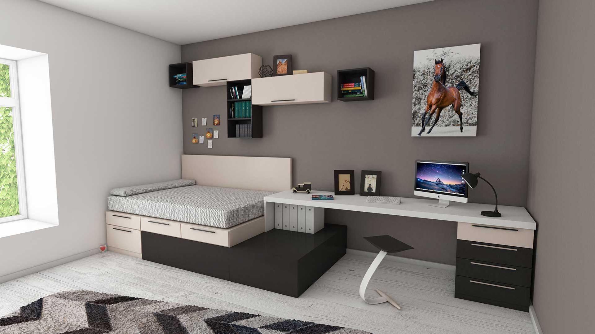 Multipurpose furniture in a Contemporary bedroom