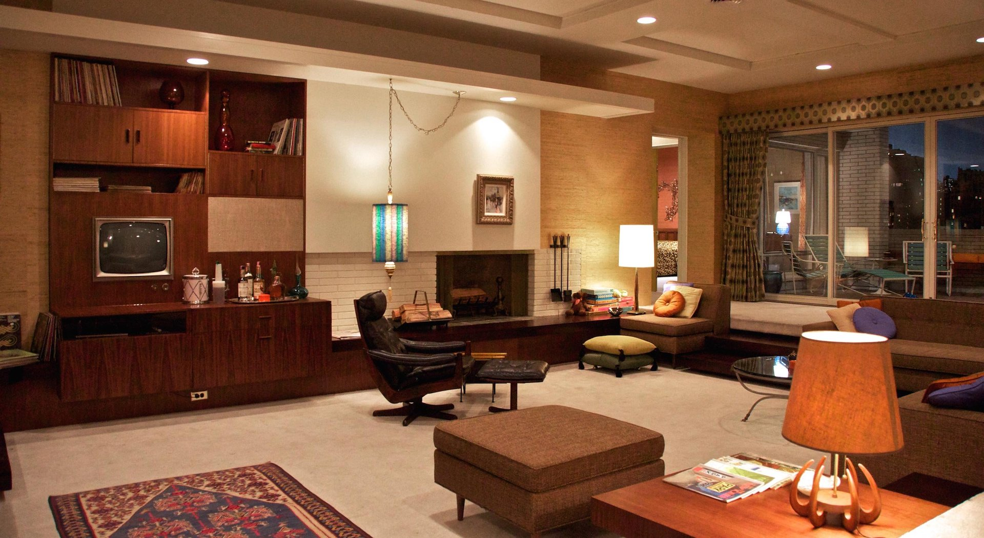 Penthouse set of Mad Men with Mid-Century Modern styling.