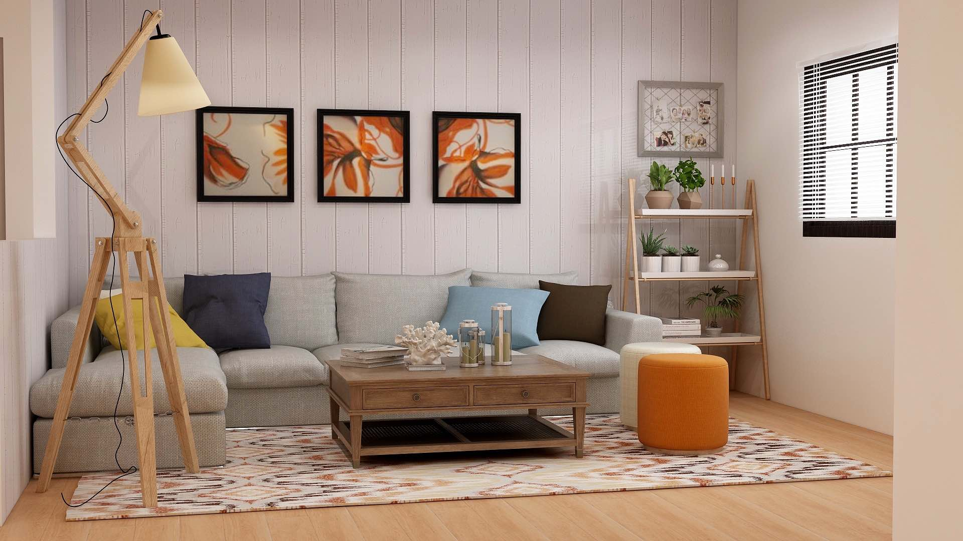 Mid-Century Modern living room with gray sofa, patterned rug, wooden furniture, and parquet flooring