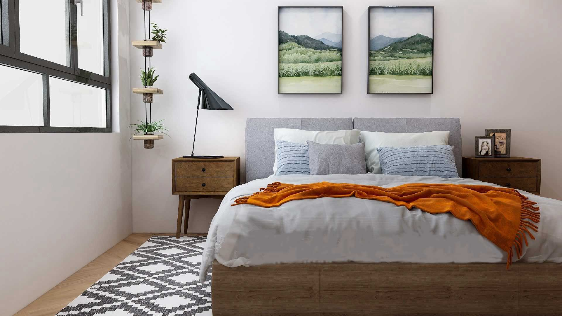 MCM bedroom furniture with clean lines on top of a geometric patterned rug