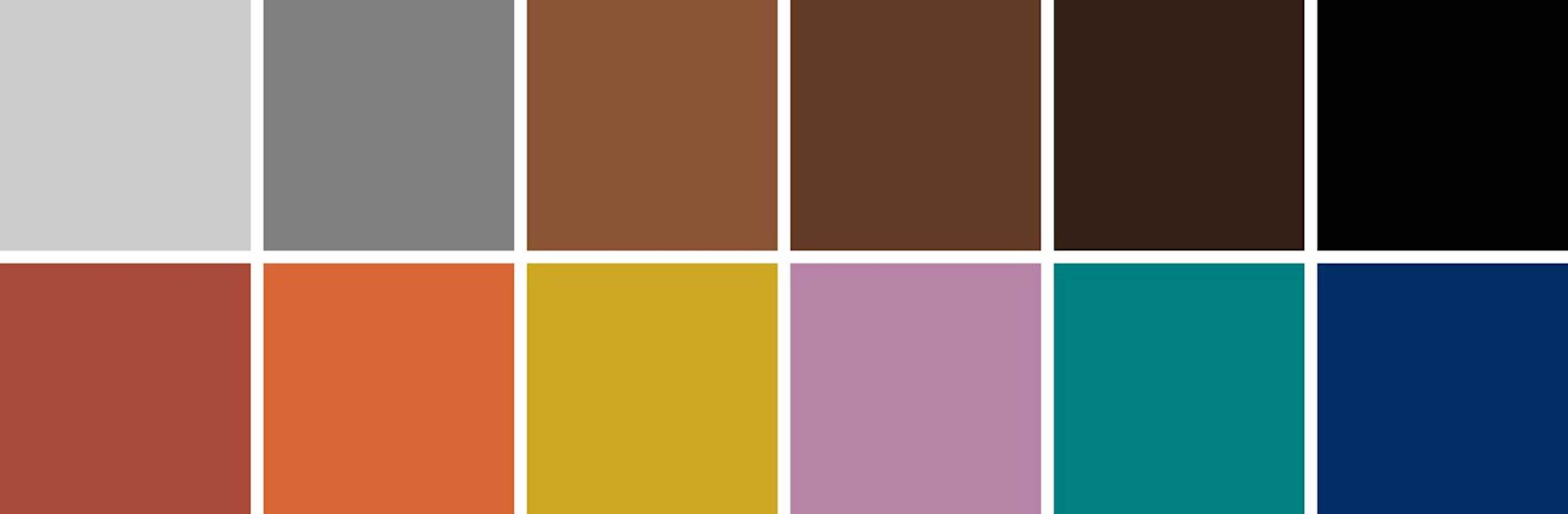 Warm unsaturated Mid-Century Modern color palette