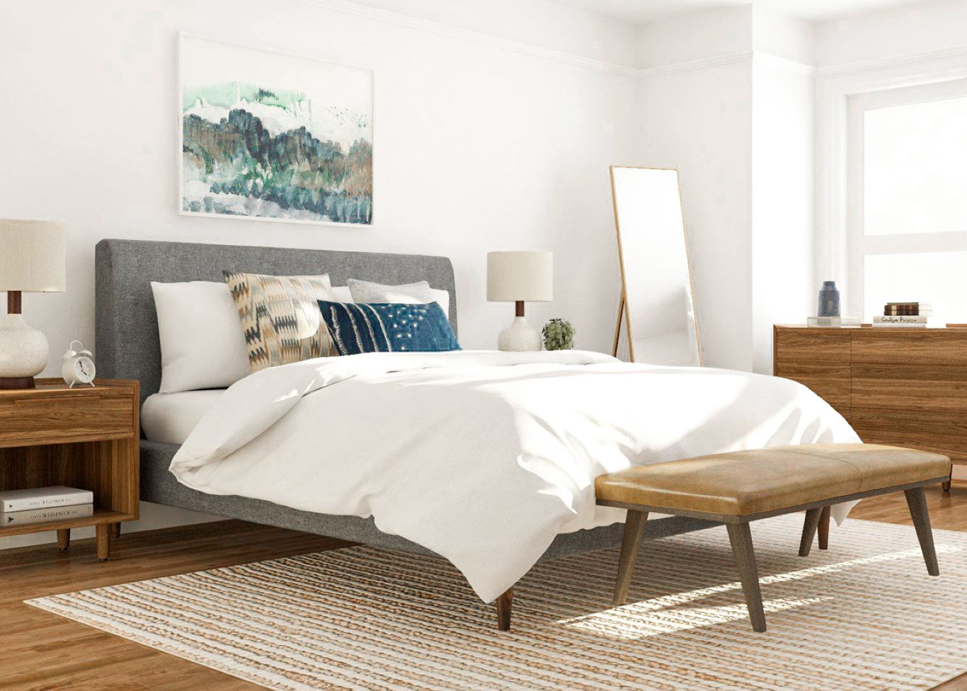 Wooden bedroom furniture with tapered legs on top of carpet decorated minimally