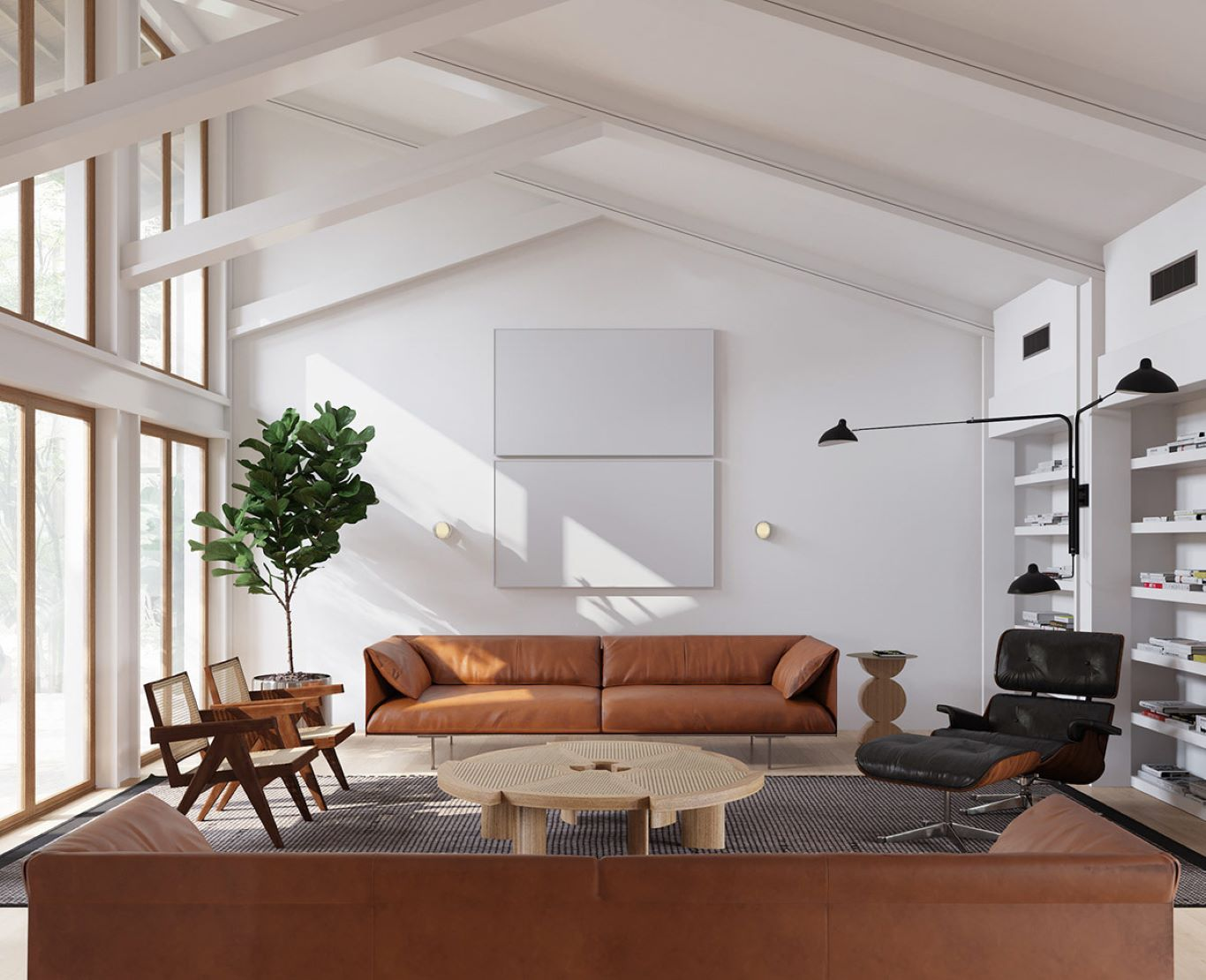 Large modern MCM living room with white walls and tan furniture matched with a gray carpet
