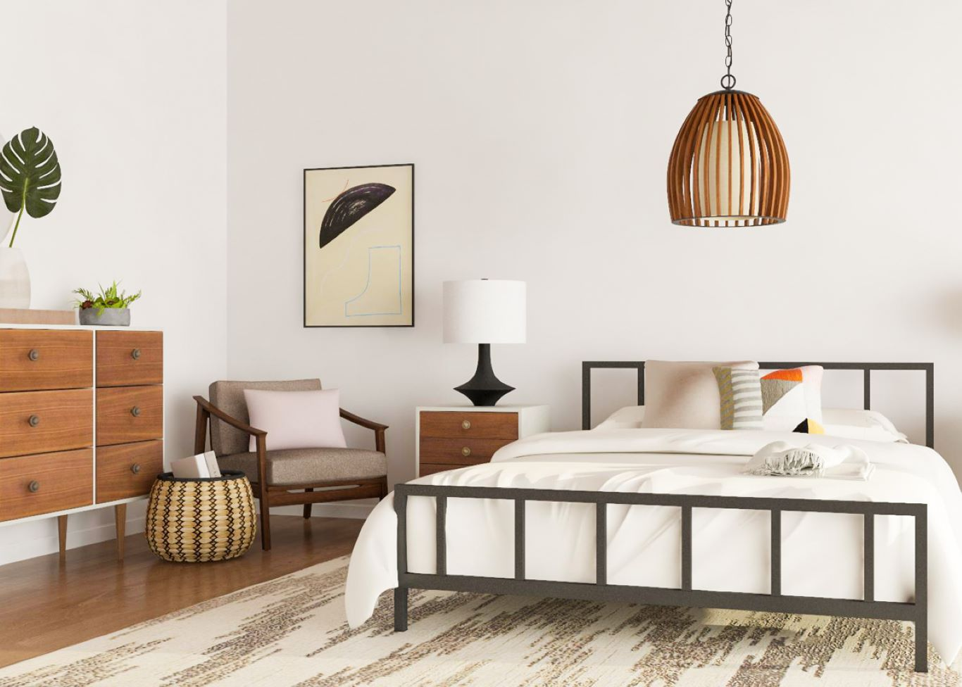 Metal framed bed atop carpet paired with wooden furniture and relevant lighting