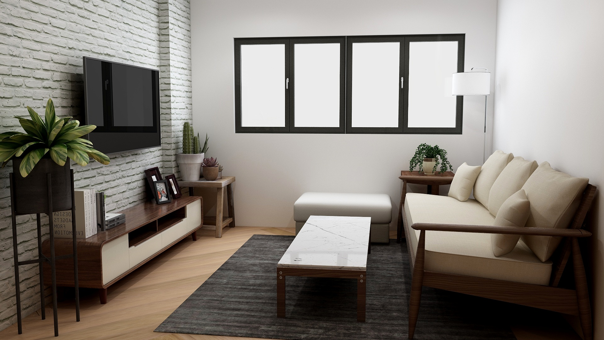 Contemporary living room utilizing MCM furniture and color palette