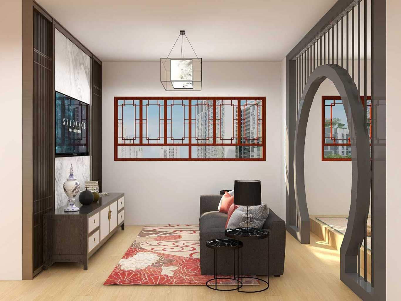 Oriental Chinese living room with latticework wall partition, chinese style windows, and lantern style light