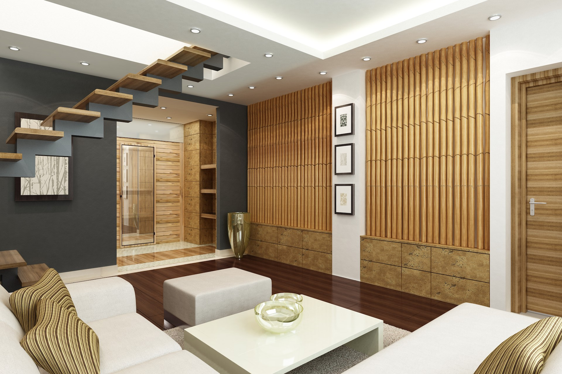 Bamboo in the form of a feature wall and sketch portrait used as decor in a living room
