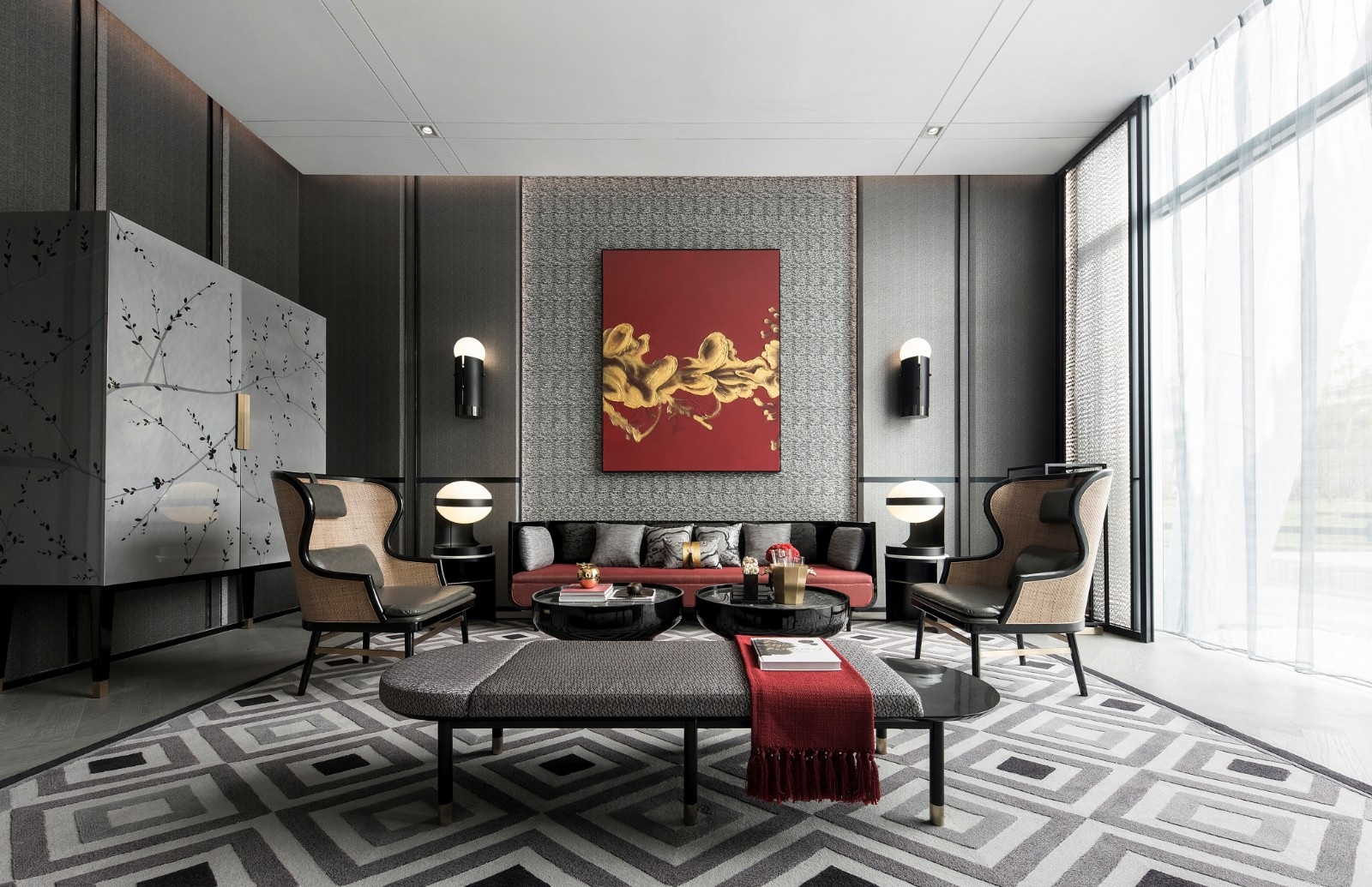 Modern Oriental Chinese living room with a gray backdrop, contemporary furniture, red accent textiles, and red portrait decor