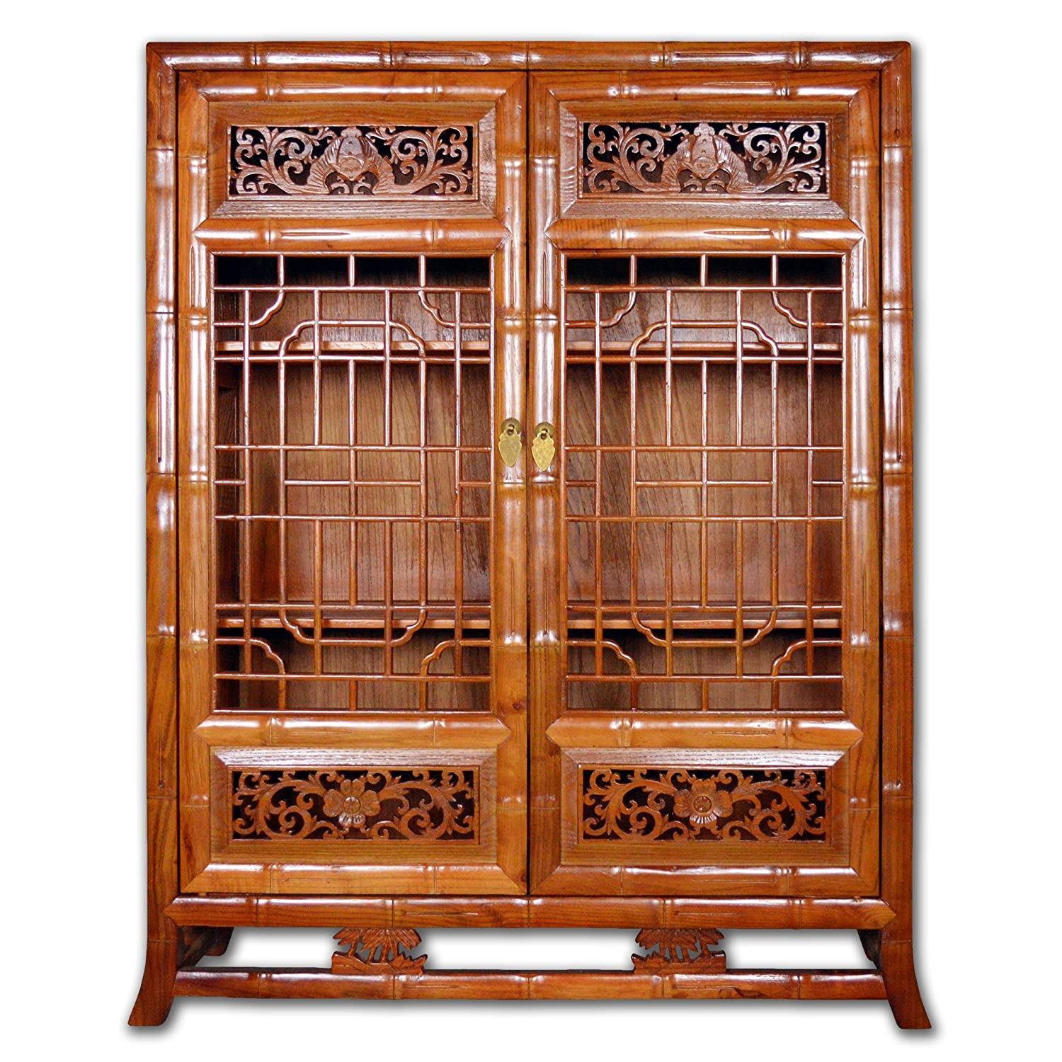 Traditional Chinese cabinet with intricate latticework on doors allowing people to view items inside