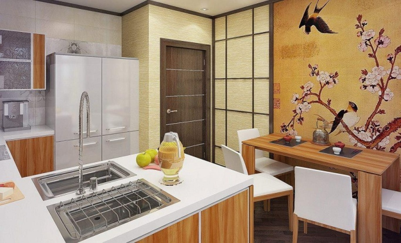 Small modern kitchen with wood finishings decorated with a large