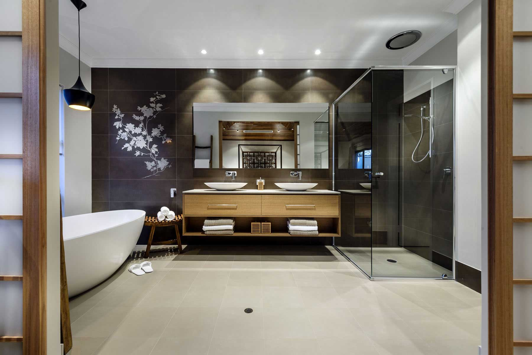 Spacious condo bathroom with Chinese floral mural decor