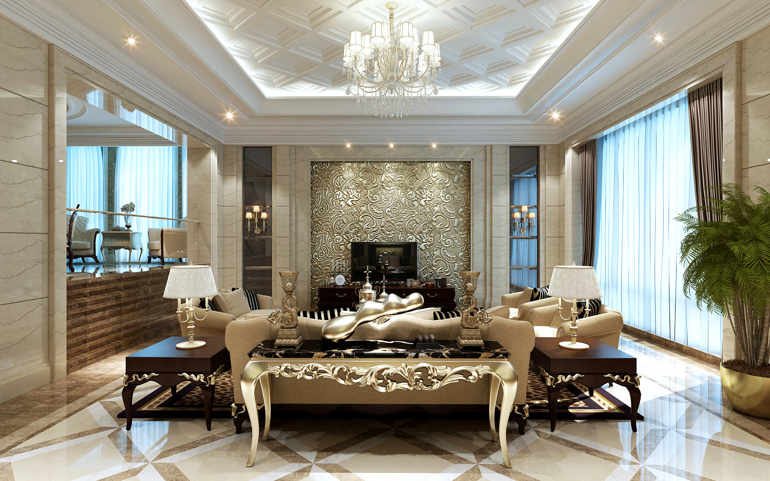 Gold color themed living room with intricate Oriental Chinese design furniture