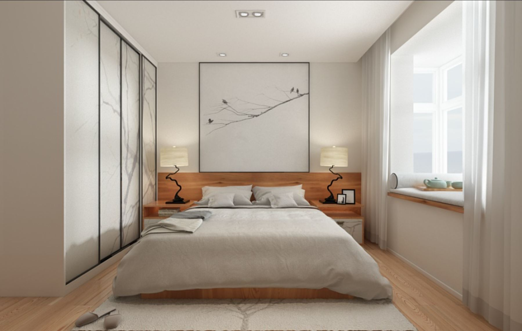 Bedroom with tree inspired decor in the form of lamps, rug design, cupboard design, and wall portrait