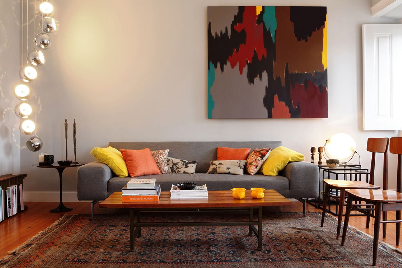 Colorful abstract decoratives in a Retro style interior