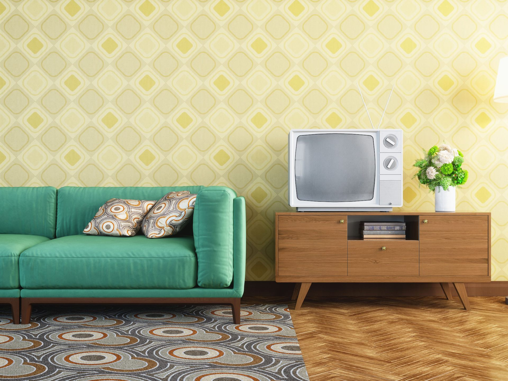 Heavy and dramatic patterns on walls and floorings in Retro homes