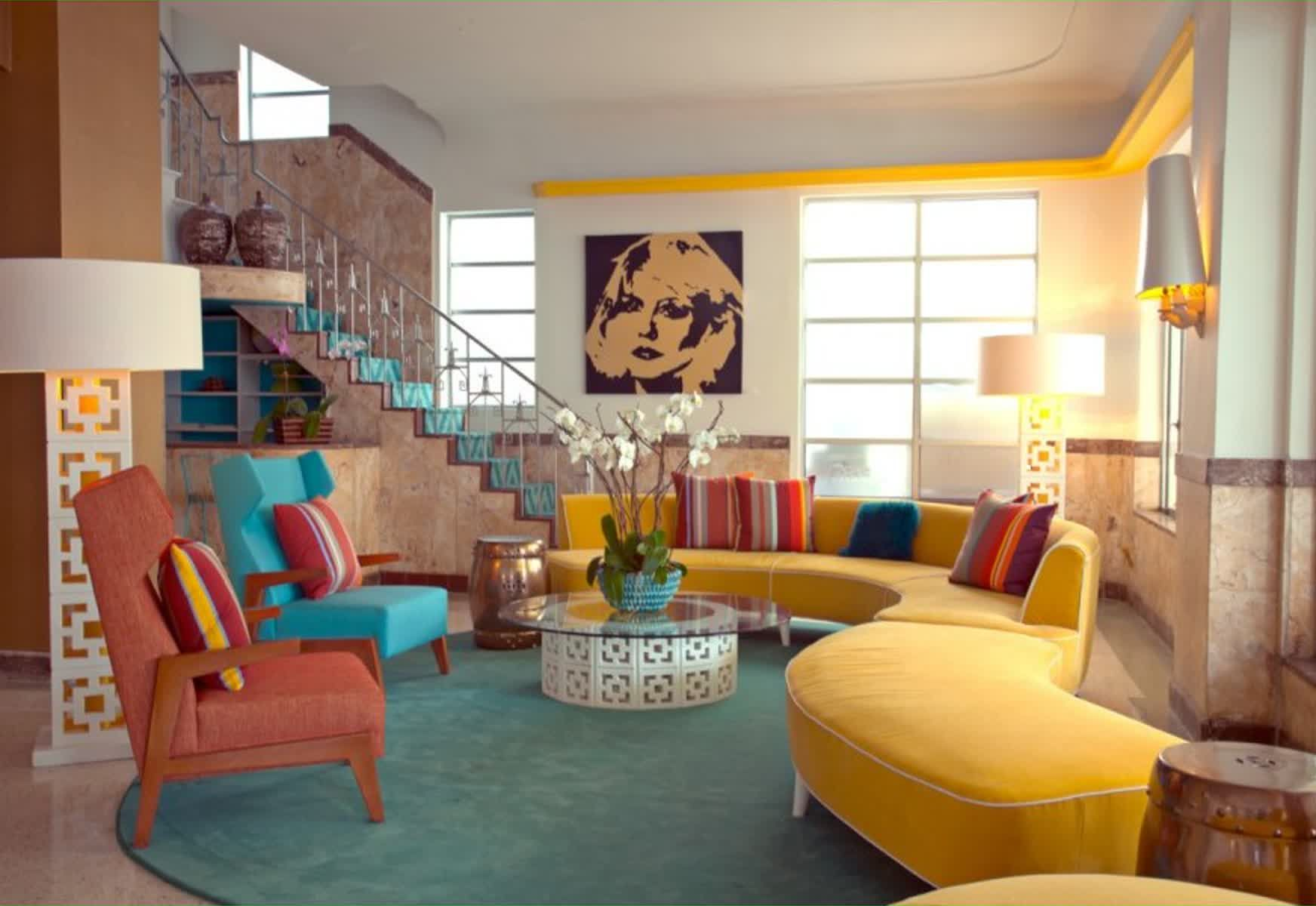 Bold, colorful, and funky decorative textures accents the Retro style