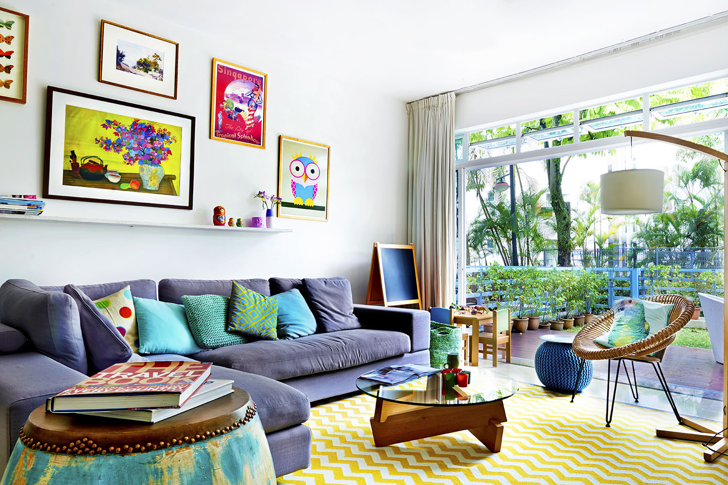 Retro living room filled with colorful and bright graphic designs or iconic symbols