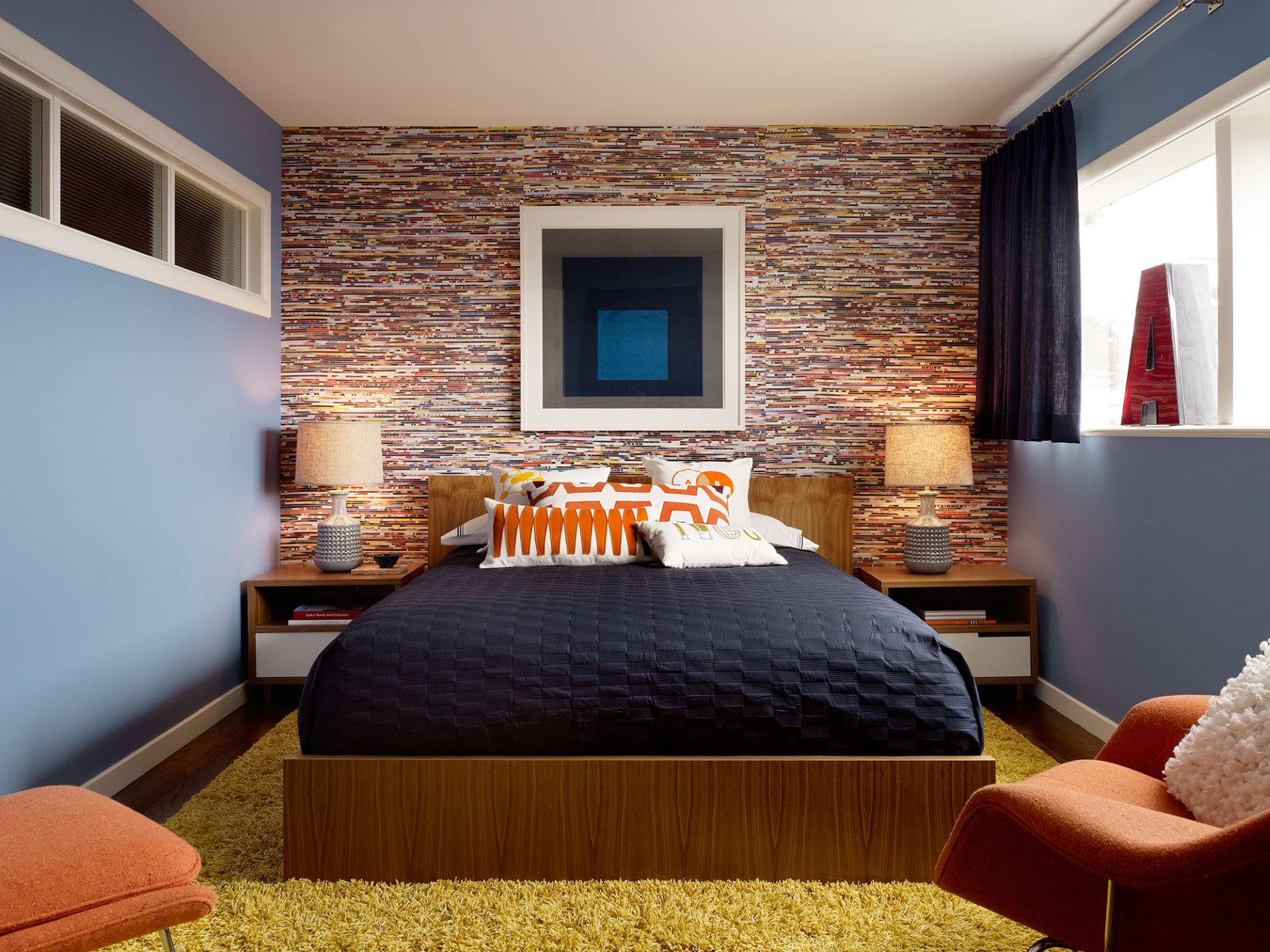 Feature wall in Retro bedroom is designed with vinyl records album to give off the vintage-inspired feel