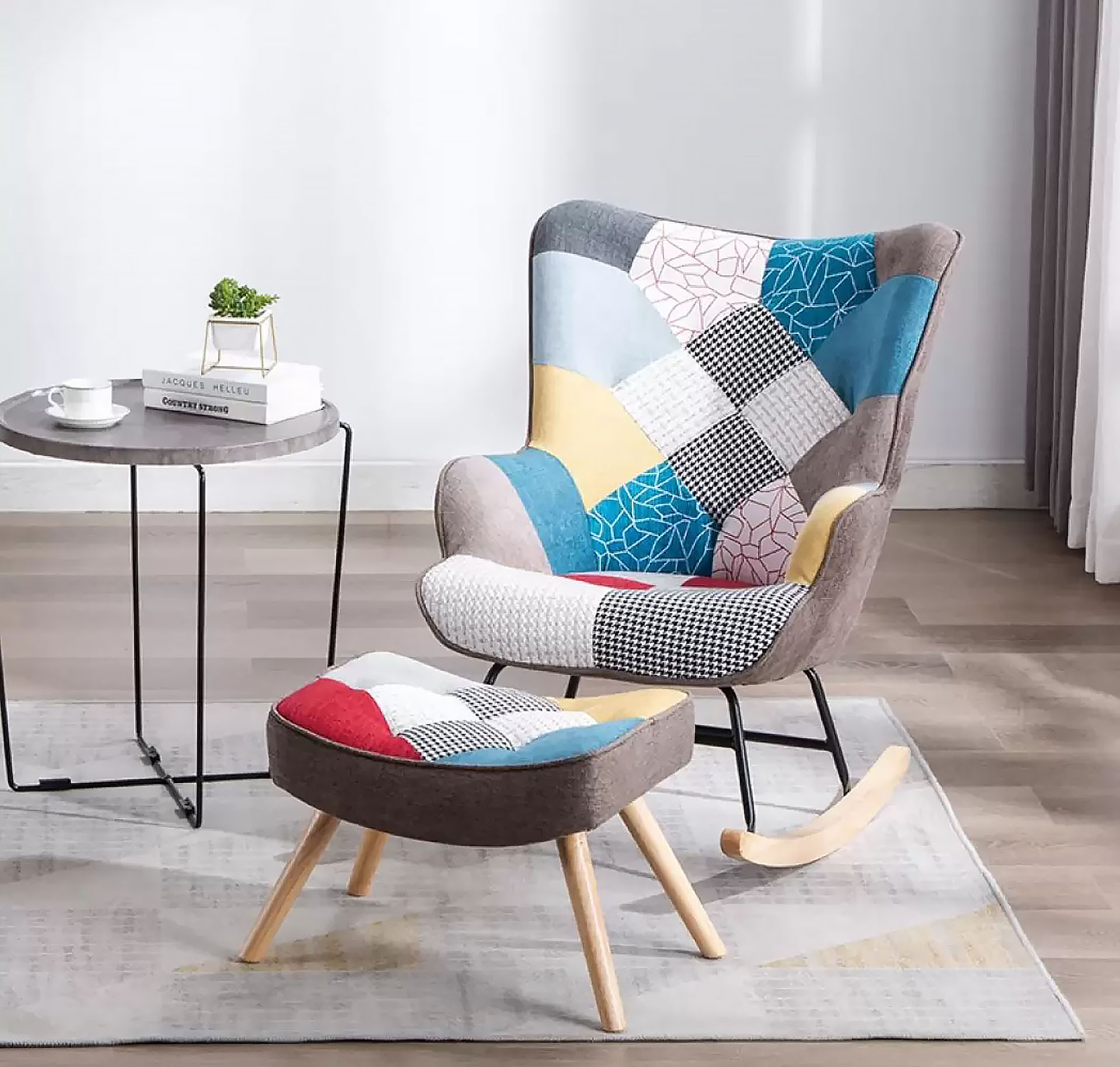 Vintage-inspired armchair made with patchwork upholstery used in Retro style interior