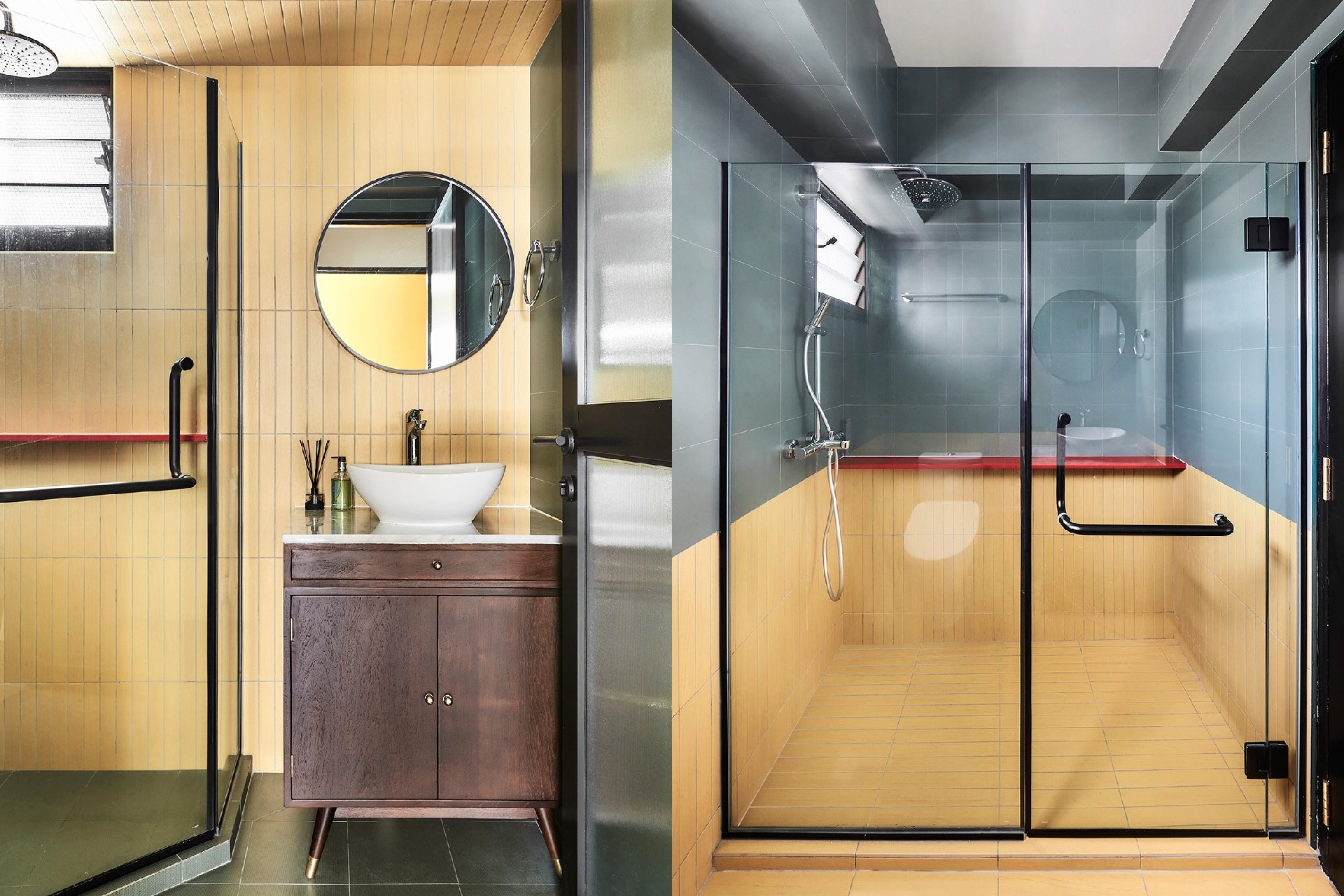 Combination of wood furniture and vibrant colored tiles in the modern Retro bathroom space
