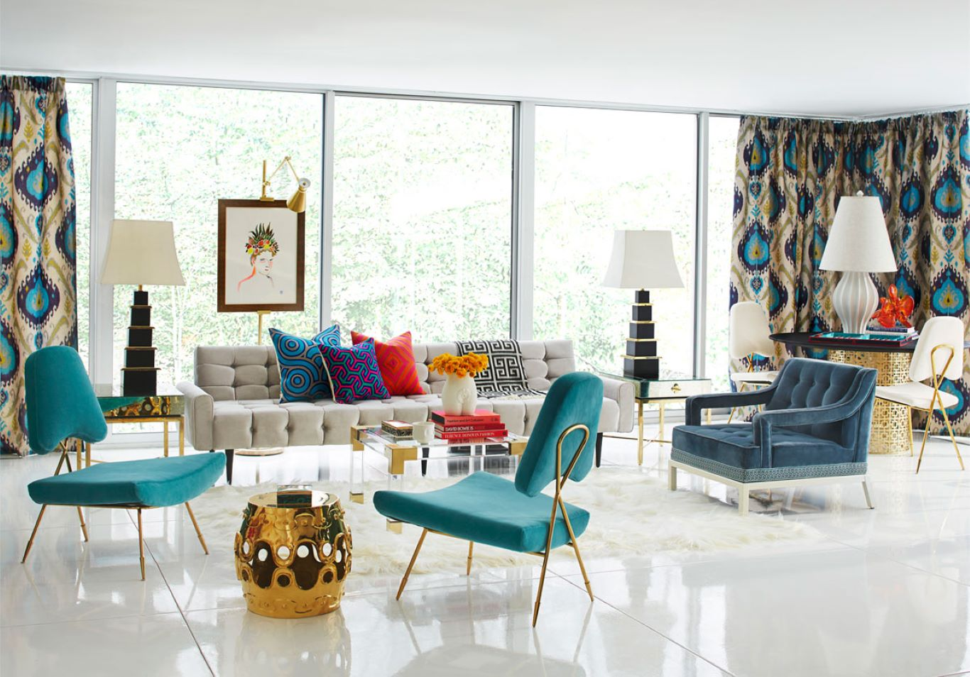 Heavily patterned curtains and cushions contrast the modern furniture in the lounge
