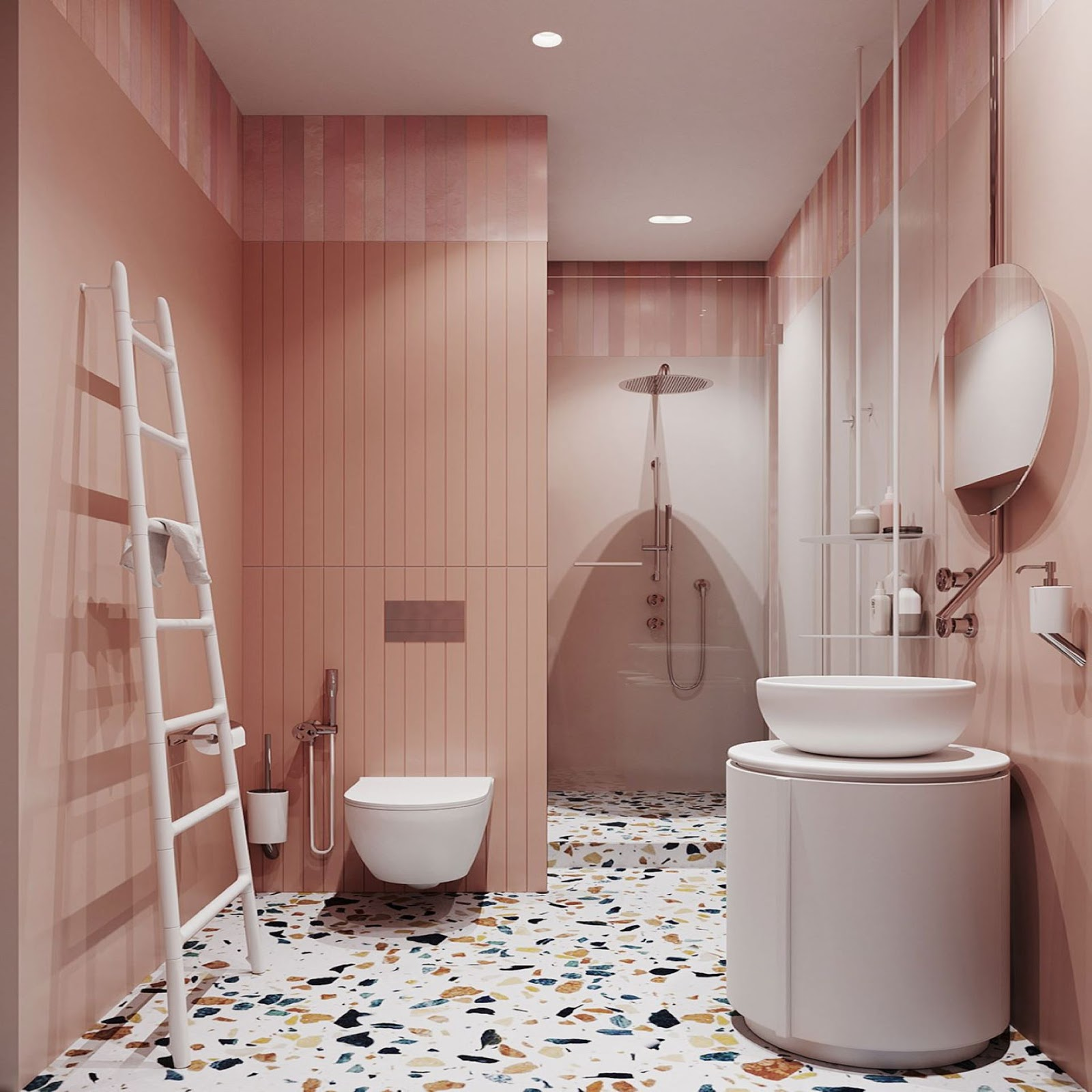 Coral pink vertical shiplap paired with Terrazzo flooring in a modernized Retro bathroom