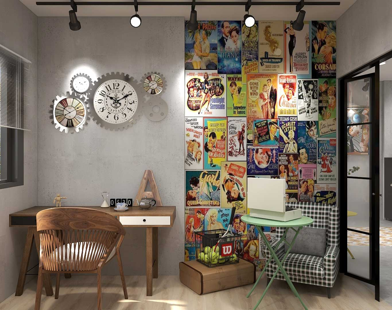 Retro Industrial fusion featuring retro posters and wall clock framed in gear icon as accent decors
