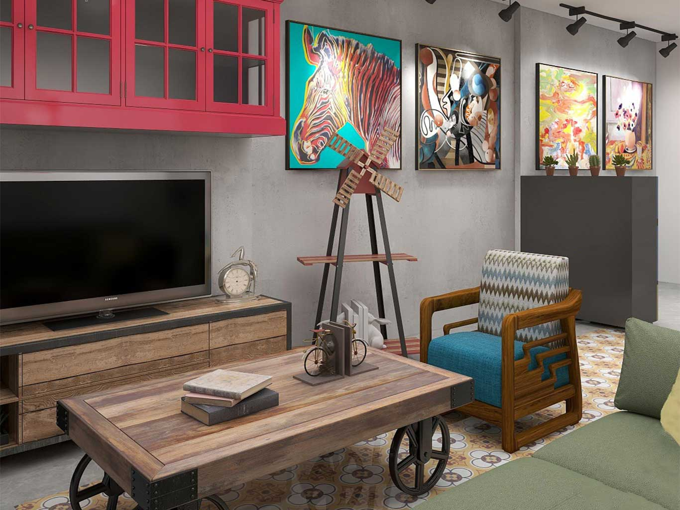 Retro colors and posters add a fun vibe to raw Industrial track lights and furniture