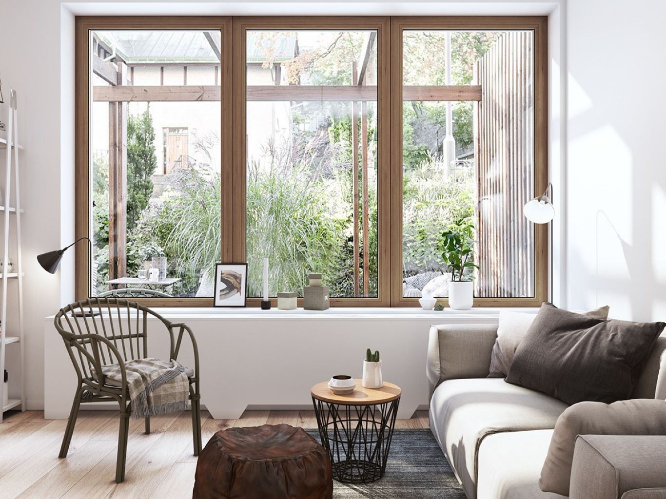 Simple design of glass wall in a crisp and clean Scandinavian space
