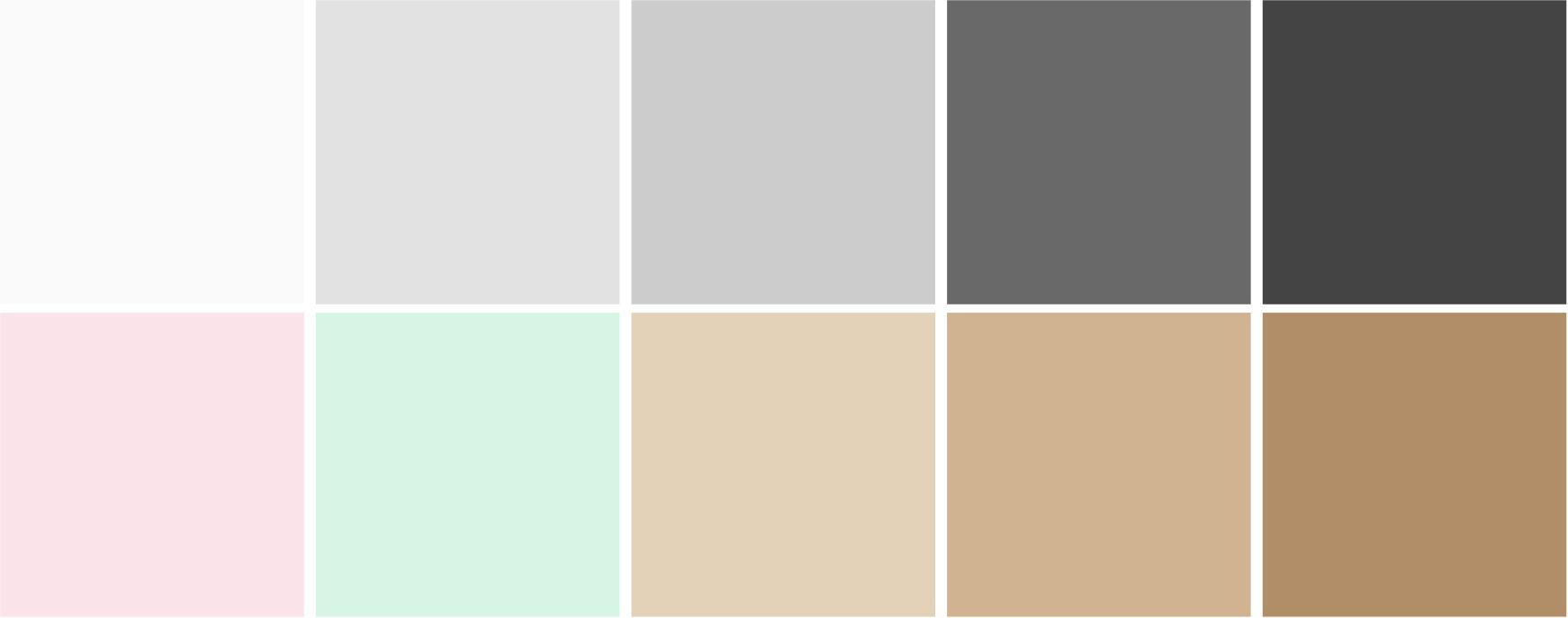 A mix of Scandinavian color palette in beige, taupe, ivory, olive green, sage