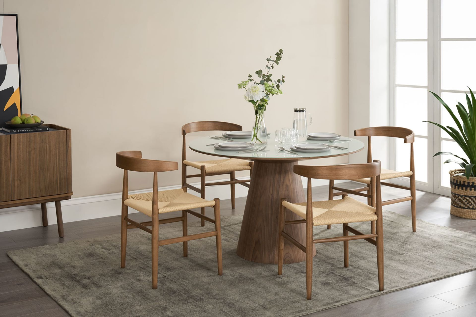 Warm wood accents furniture in Scandinavian style