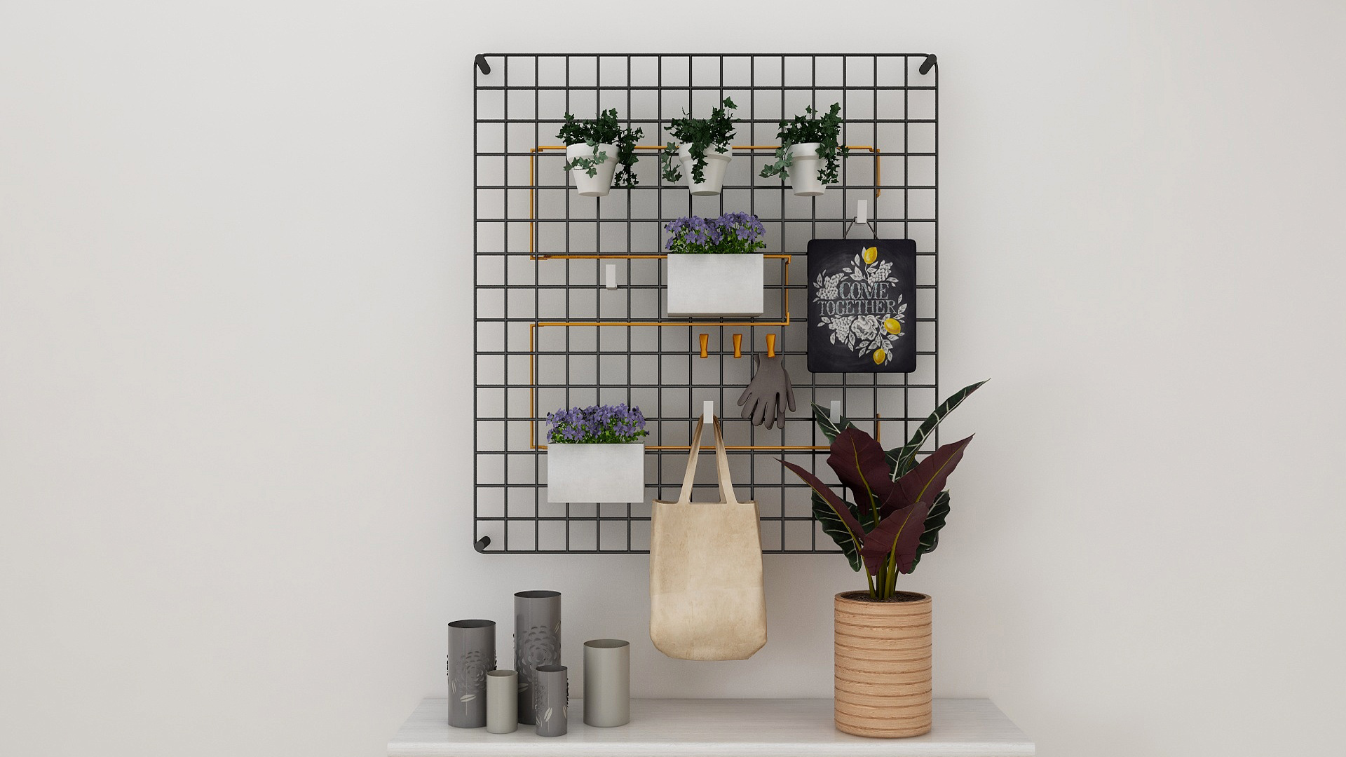 A metal mesh grid repurposed as a Nordic-inspired wall decorative with potted plants