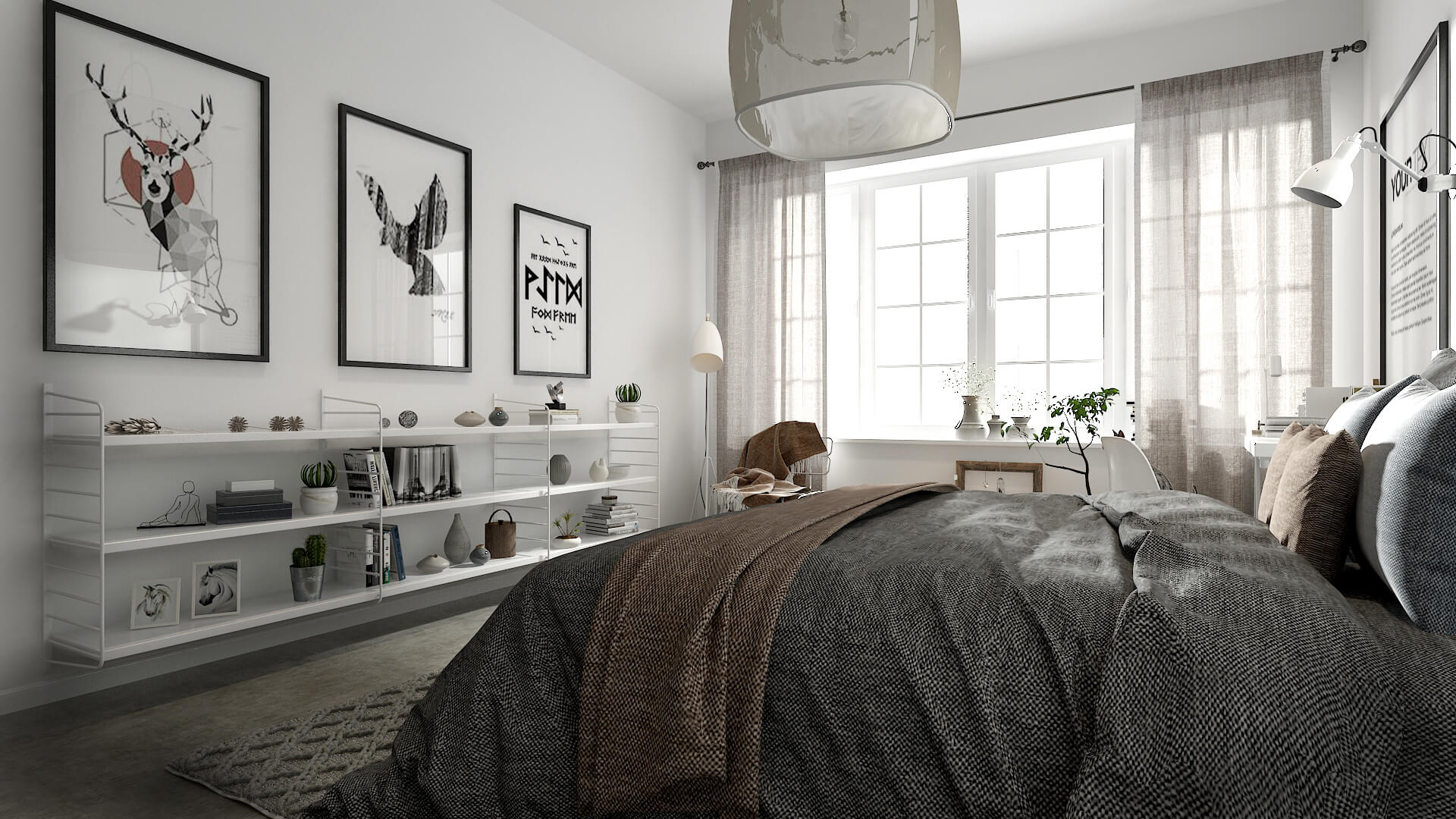 Modern marrakesh rug and warm accents in the all-white Scandinavian bedroom