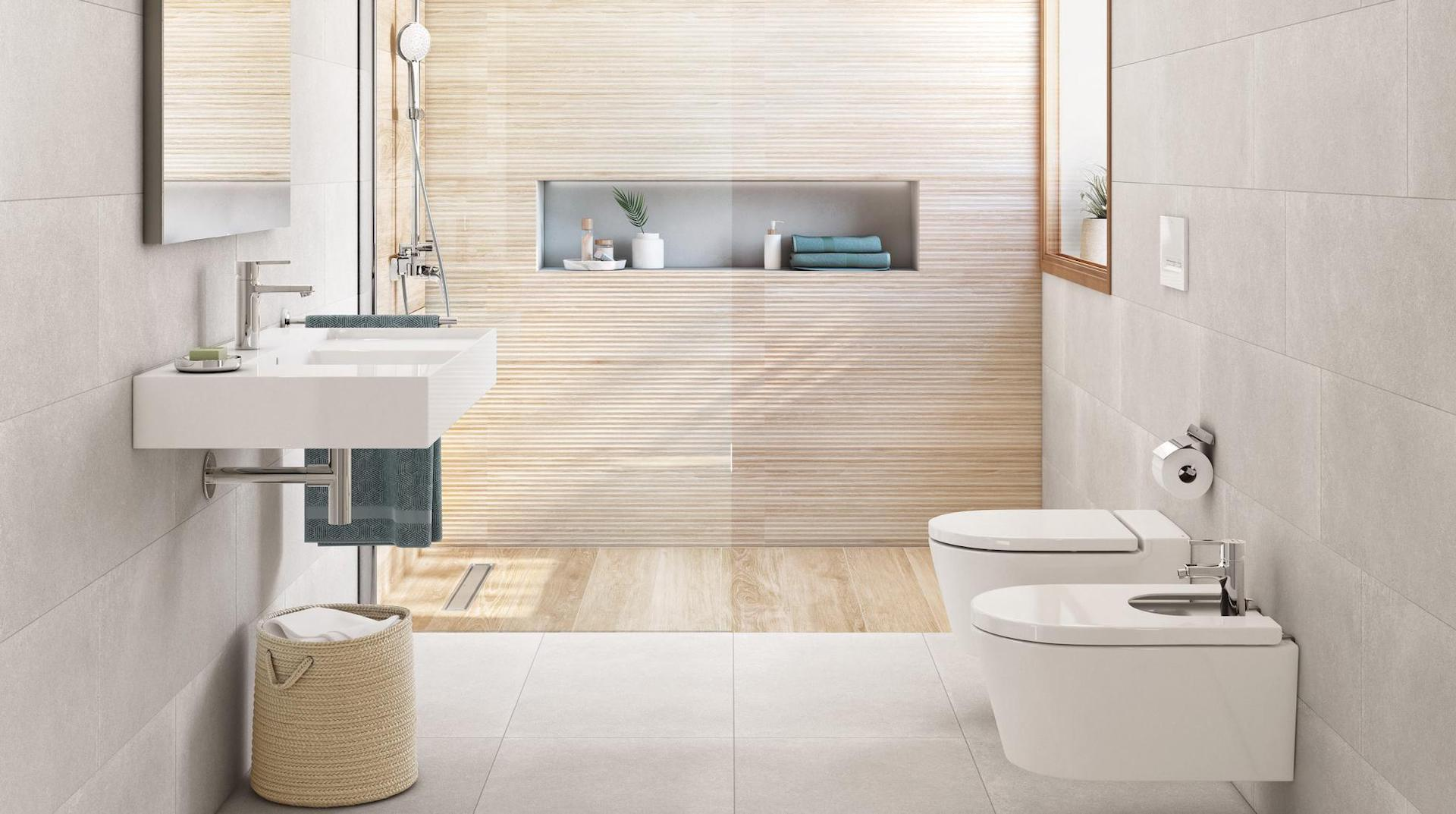 Wood finished bathroom tiles in an HDB bathroom for a Nordic home spa-inspired look