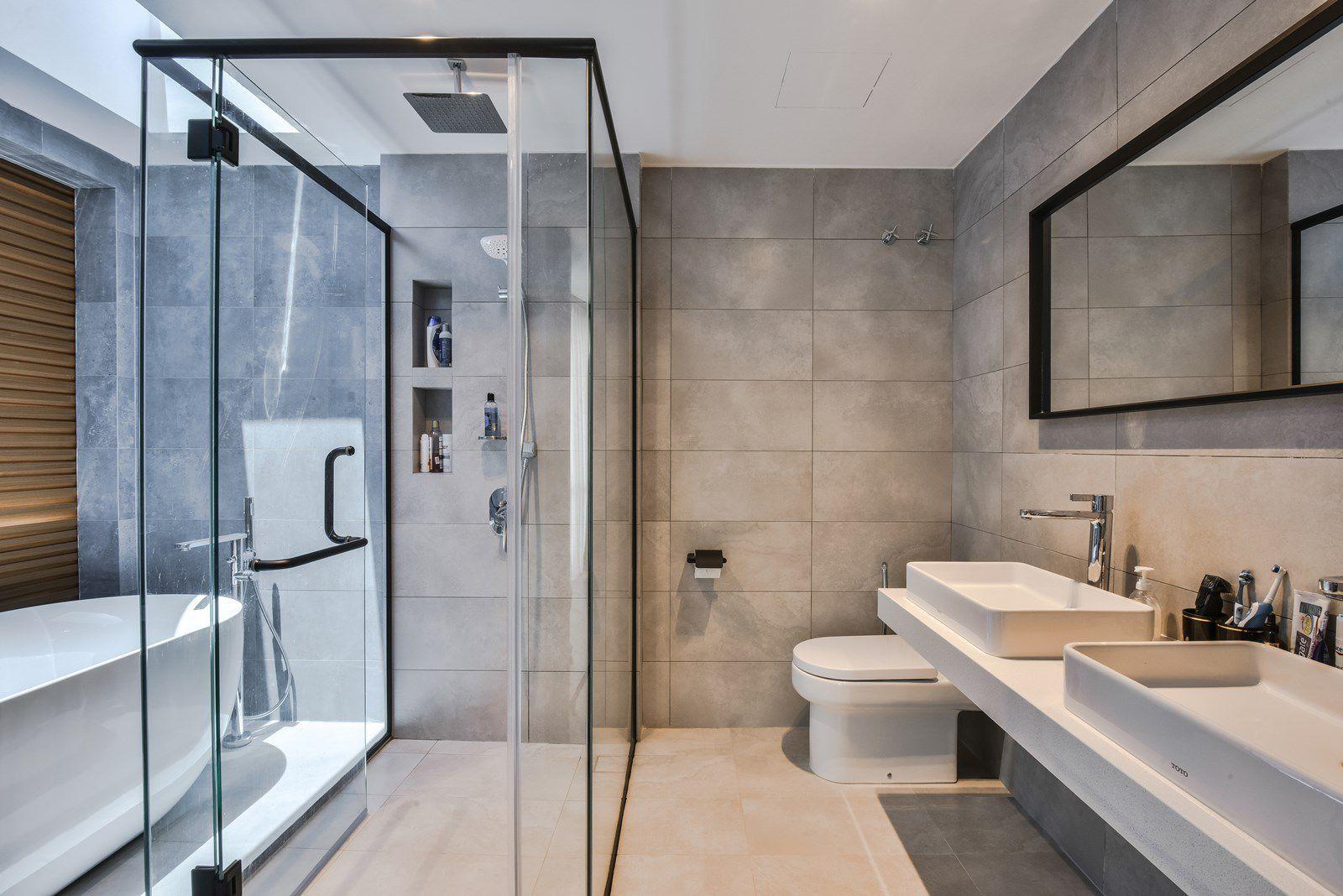 Open skylights window in a Scandinavian designed bathroom