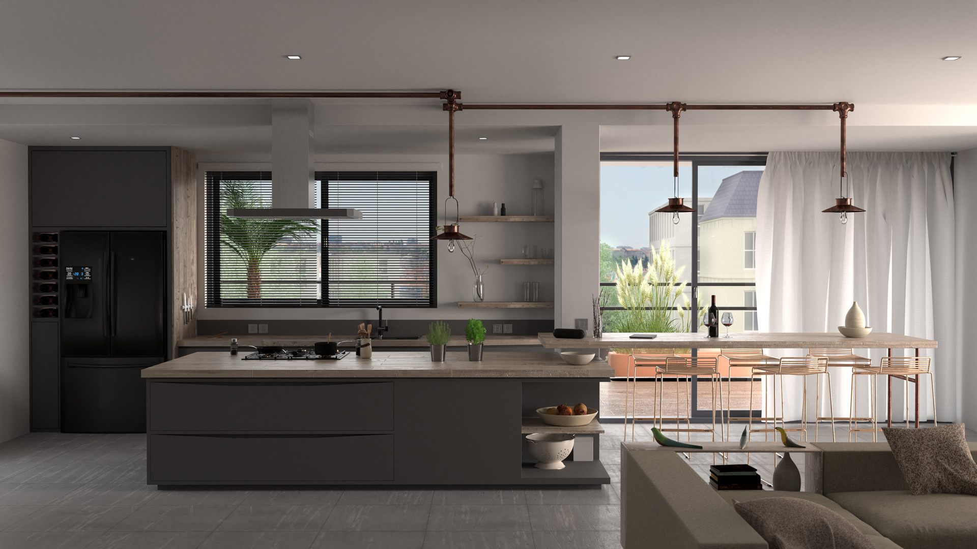 Scandustrial open-concept bungalow kitchen with exposed pipes and dark cabinetry
