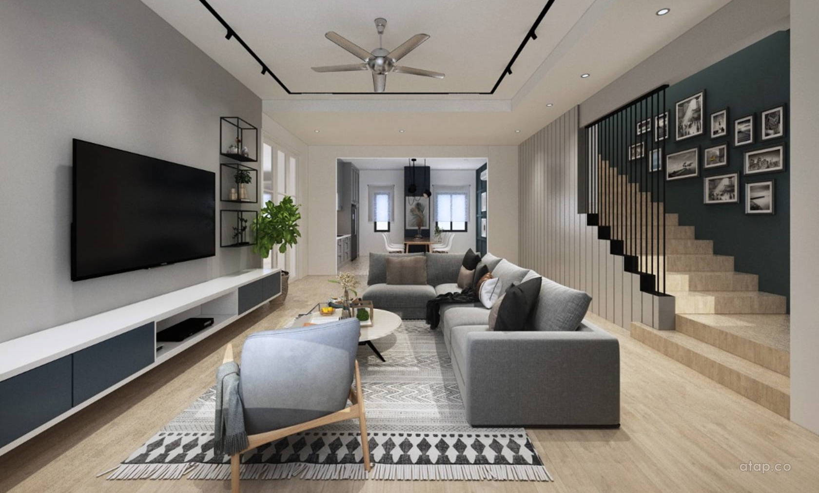 Blacks and grays accents with wood patterns lend a fuse of Contemporary and Scandinavian style