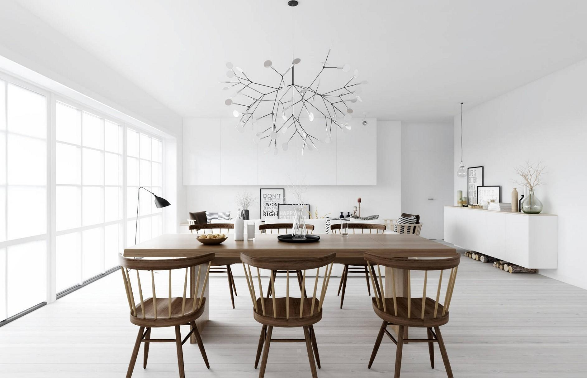 Metallic sputnik chandelier lends a rustic appeal with Scandinavian wood finishes in a living room