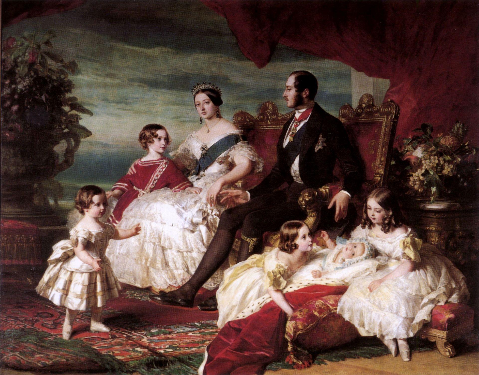 Portrait of Queen Victoria, Prince Albert, and five children.