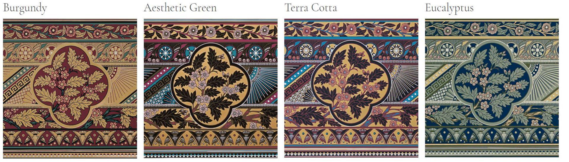 Leaf-print wallpaper motifs in burgundy, green, mint and terra cotta.