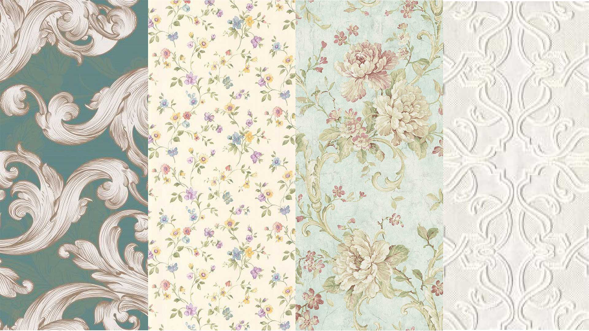 A collection of small and large floral prints in soft pastel colors.