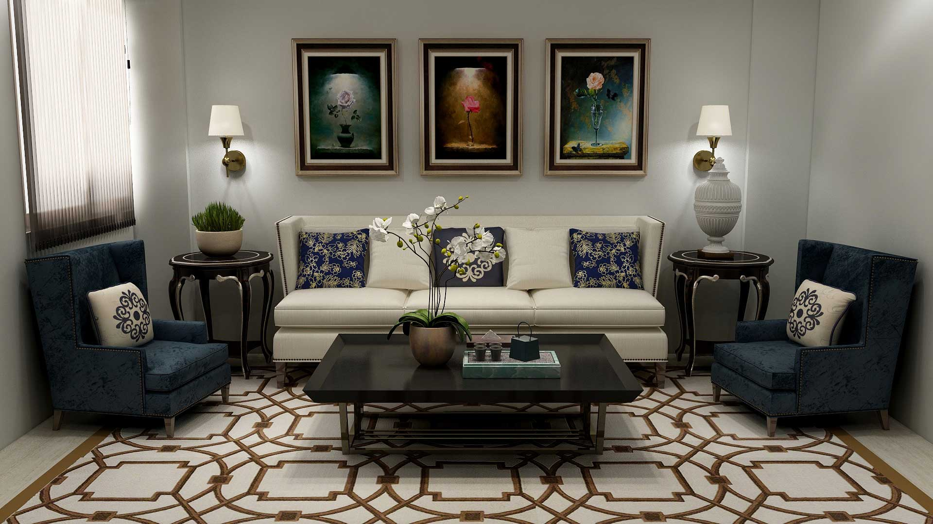 Modern Victorian living room decorated with sconce lighting, floral embroidered cushions and geometric-patterned floor rug.